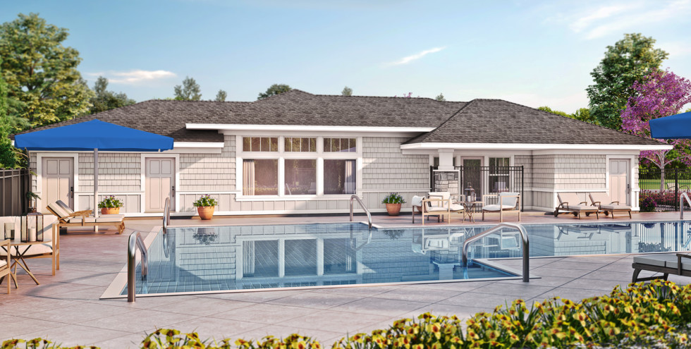Rendering of Creekside Hills Clubhouse and Pool area